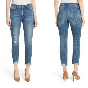 Frame Le High Raw Edge Straight Jeans Distressed